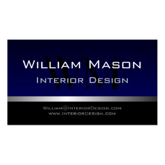 Blue & Silver Stripe Professional Business Card