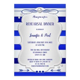 Blue Silver Striped Rehearsal Dinner Invitation