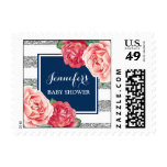 Blue Silver Stripes Pink Flowers Baby Shower Postage