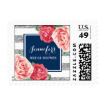 Blue Silver Stripes Pink Flowers Bridal Shower Postage