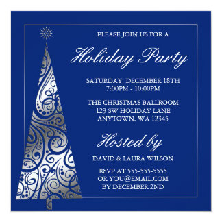 Blue Silver Swirl Christmas Tree Holiday Party Card