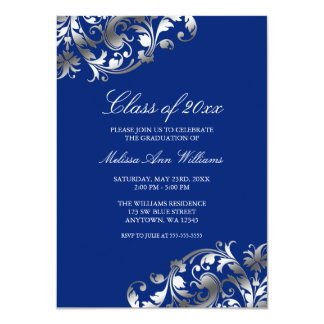 Blue Silver Swirl Graduation Party Announcement