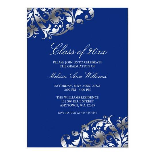 Blue silver swirl graduation party announcement zazzle blue silver swirl graduation party announcement filmwisefo Gallery