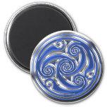 Blue Silver Triskel 2 Inch Round Magnet