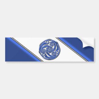 Blue Silver Triskel Bumper Sticker