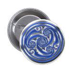 Blue Silver Triskel Button