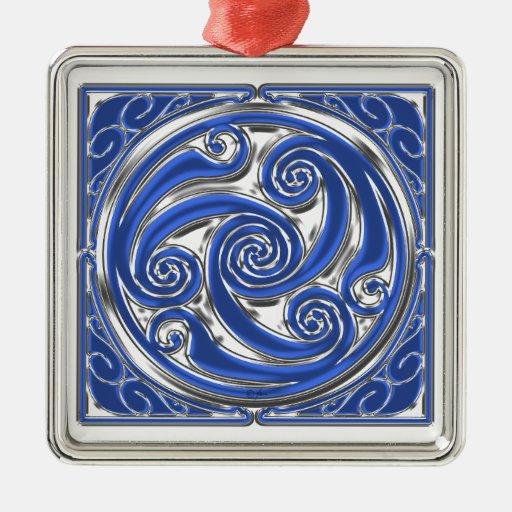Blue Silver Triskel Christmas Tree Ornament