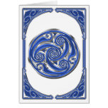 Blue Silver Triskel Greeting Card