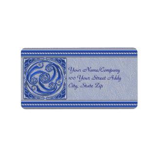 Blue Silver Triskel Address Label