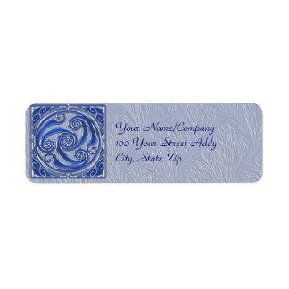 Blue Silver Triskel Return Address Label