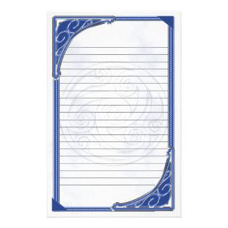 Blue Silver Triskel Lined Stationery