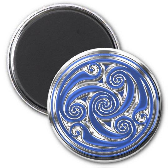 Blue Silver Triskel Magnet