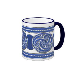 Blue Silver Triskel Ringer Coffee Mug