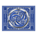 Blue Silver Triskel Postcard