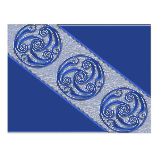 Blue Silver Triskel Postcards