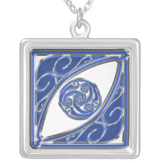 Blue Silver Triskel Silver Plated Necklace