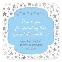 Blue Silver Twinkle stars thank you favor sticker