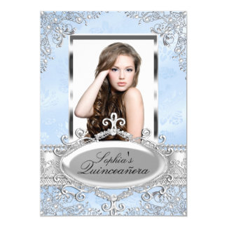 Blue Silver Vintage Glamour Photo Quinceanera Card