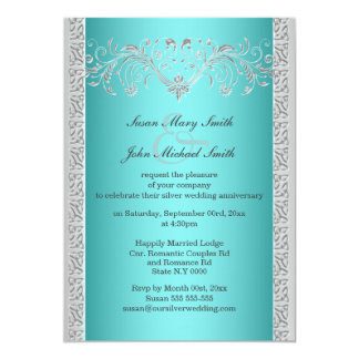 Blue Silver Wedding Anniversary Floral Card