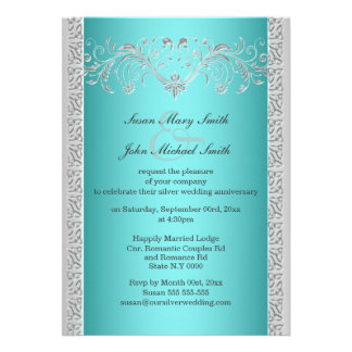 Blue silver wedding anniversary floral cards
