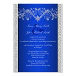 Blue silver wedding anniversary floral invites