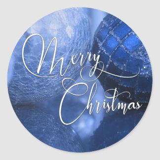 Blue, Silver & White Merry Christmas Greeting Classic Round Sticker