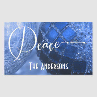 Blue, Silver & White Peace Greeting for Holidays Rectangular Sticker