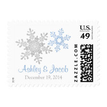 Blue Silver White Snowflake Winter Wedding Postage