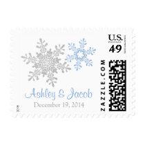 Blue Silver White Snowflake Winter Wedding Postage
