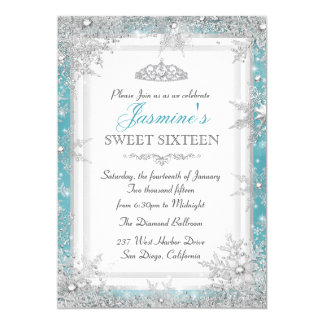 Blue Silver Winter Wonderland Sweet 16 Invitation