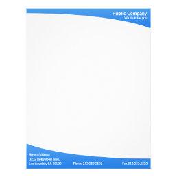 Blue simple plain modern elegant letterhead