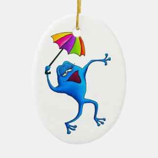 Blue Singing Frog Ornament