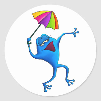 Blue Singing Frog with Umbrella Classic Round Sticker
