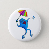 Blue Singing Frog with Umbrella Pinback Button
