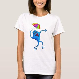Blue Singing Frog with Umbrella T-Shirt