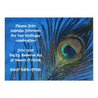 Blue Single Peacock Feather Birthday Card