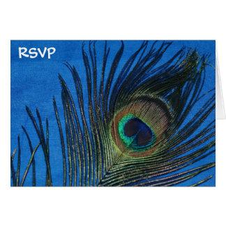 Blue Single Peacock Feather Wedding RSVP Card