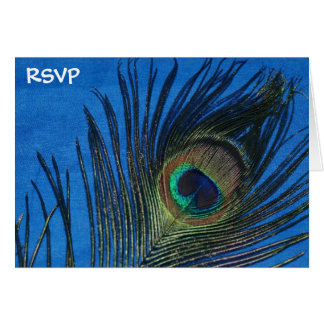Blue Single Peacock Feather Wedding RSVP Stationery Note Card