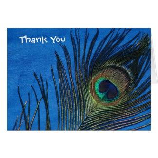 Blue Single Peacock Feather Wedding Thank You Card