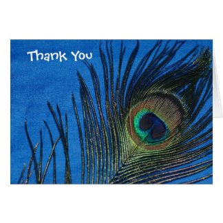 Blue Single Peacock Feather Wedding Thank You Stationery Note Card