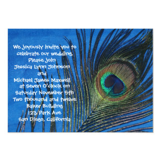 Blue Single Peacock Wedding Card