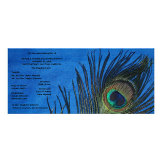 Blue Single Peacock Wedding Program