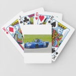 Blue single seater race car bicycle card deck