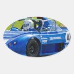 Blue single seater race car oval stickers