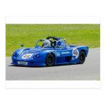 Blue single seater race car postcard