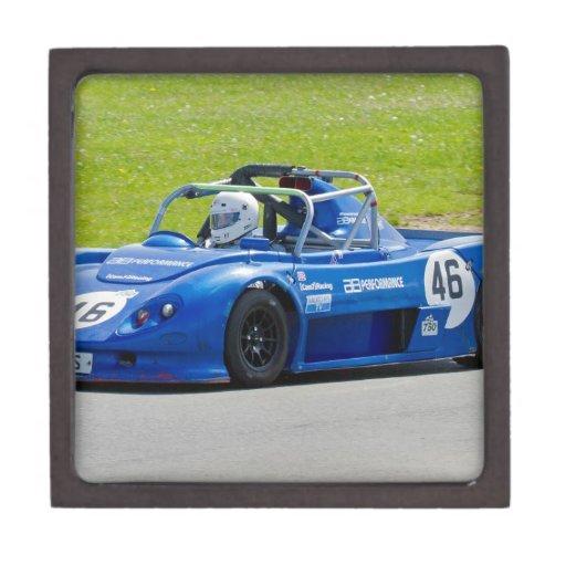 Blue single seater race car premium keepsake boxes