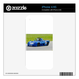 Blue single seater race car decal for iPhone 4S