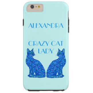 Blue Sitting Cat Feline Cat Lover Crazy Cat Lady Tough iPhone 6 Plus Case