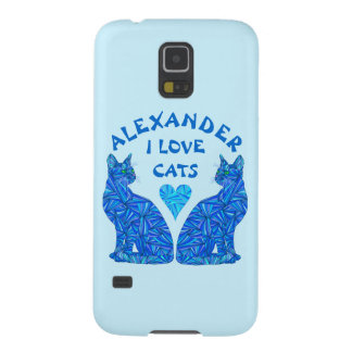 Blue Sitting Cat Feline Cat Lover I Love Cats Galaxy S5 Cover