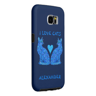 Blue Sitting Cat Feline Cat Lover I Love Cats Samsung Galaxy S6 Cases